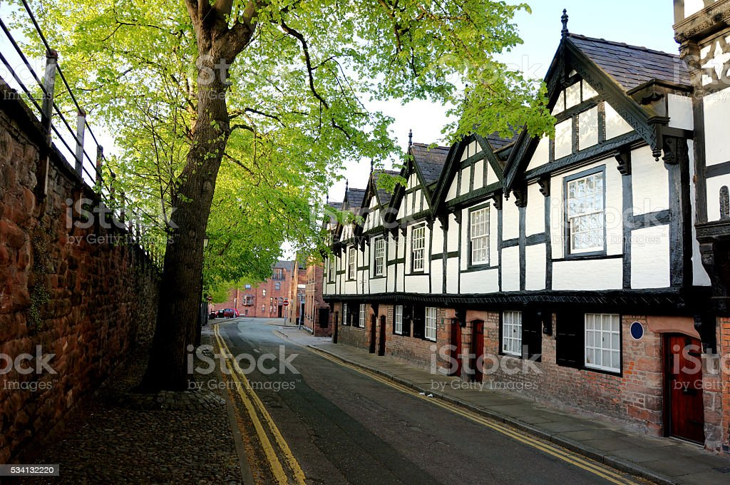 Tudor Black and White Houses stock photo