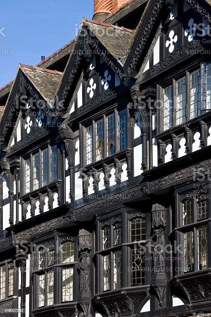 Tudor buildings - Chester - England stock photo