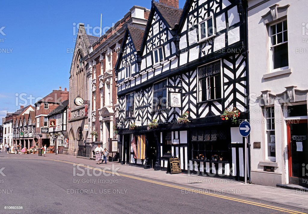 Tudor Cafe and Guildhall along Bore Street, Lichfield. stock photo