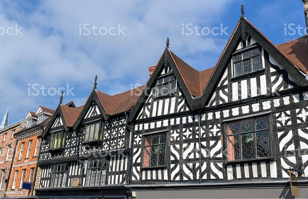 Tudor Frontages on High Street, Shrewsbury stock photo