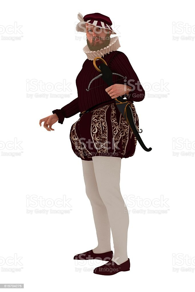 Tudor gentleman with crossbow stock photo