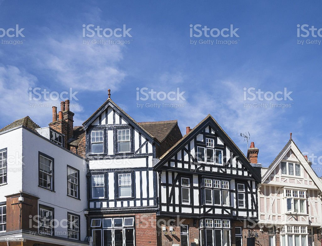 Tudor style roof tops royalty-free stock photo