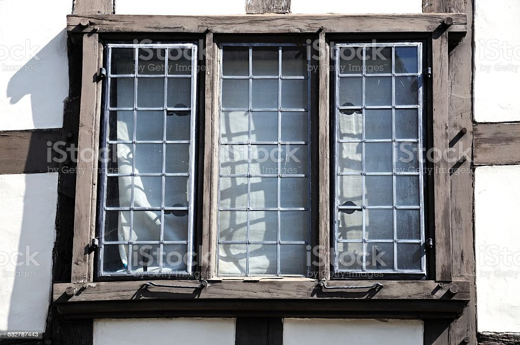 Tudor window, Tewkesbury. stock photo