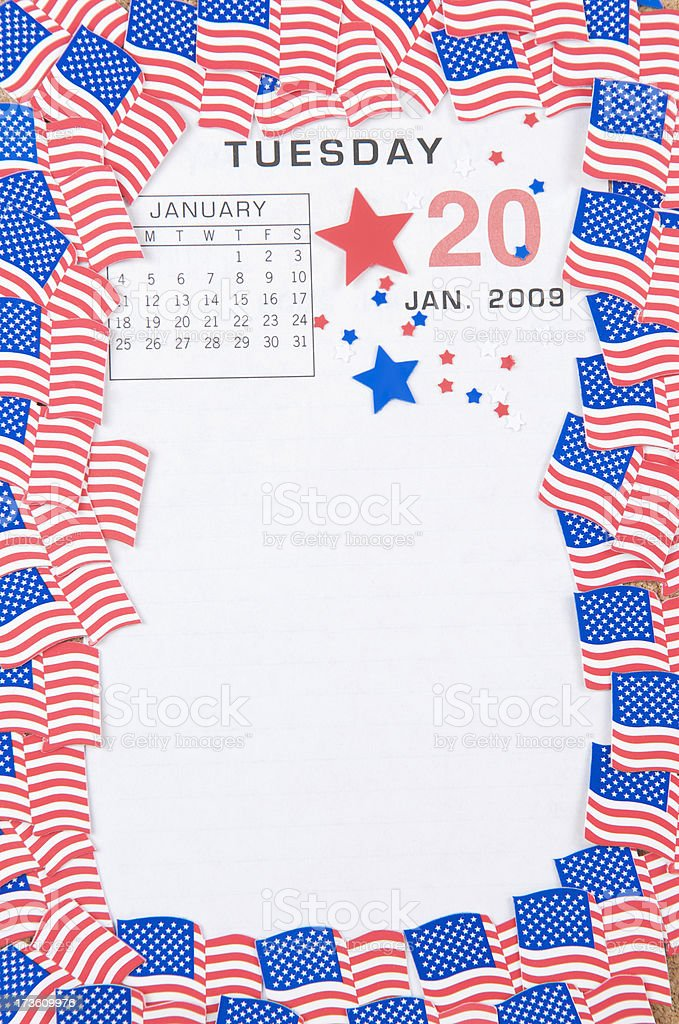 Tuesday Jan 20 2009 w Flags stock photo