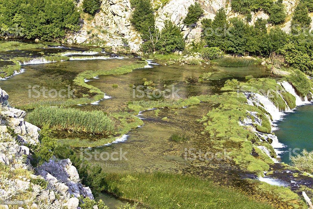 Tufa cascades of Krupa river stock photo
