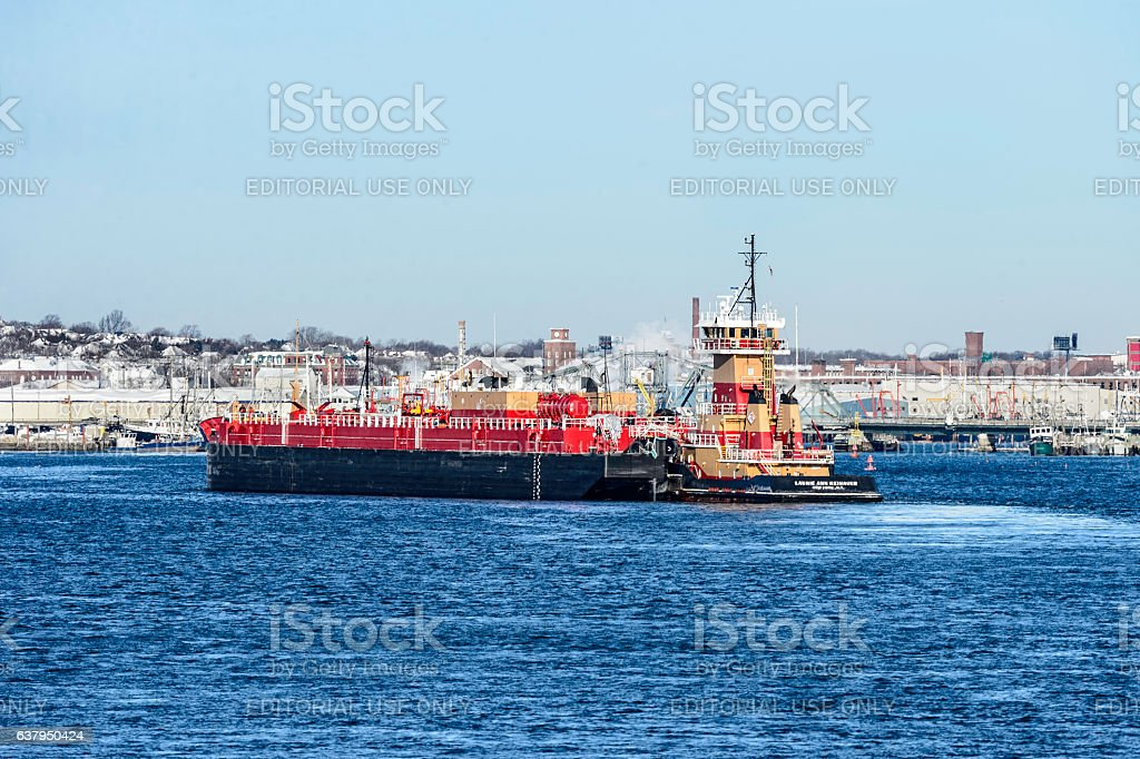 Tug and barge New Bedford harbor stock photo