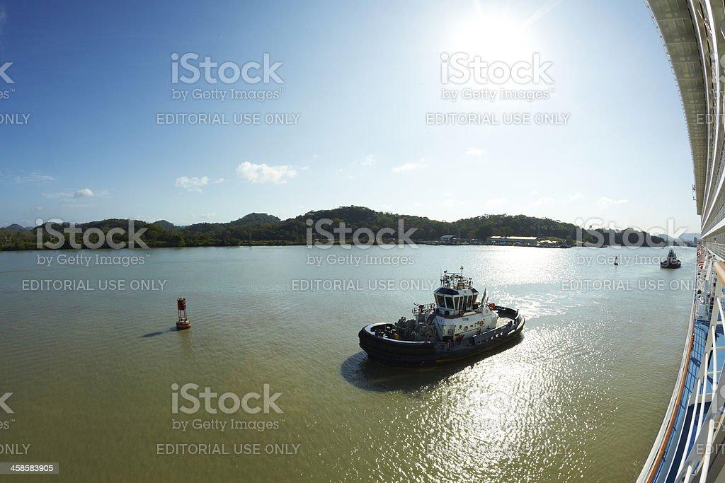 Tug Boat Alongside Cruise Ship, Panama Canal, Fisheye royalty-free stock photo