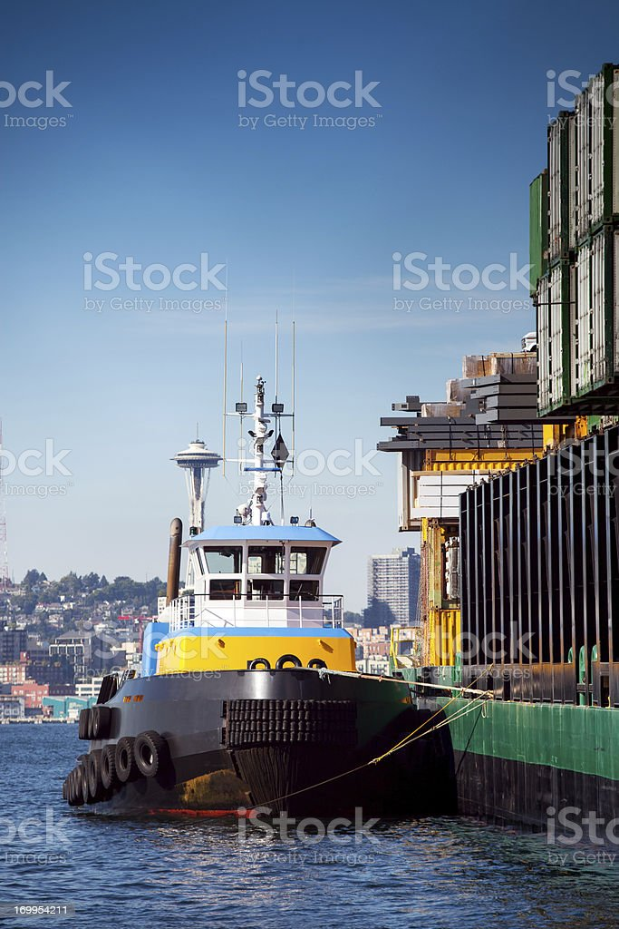 Tug Boat and Container Barge royalty-free stock photo