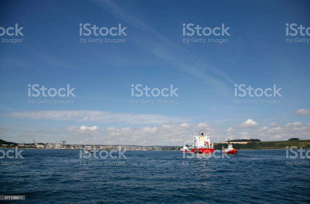 Tug boat help royalty-free stock photo