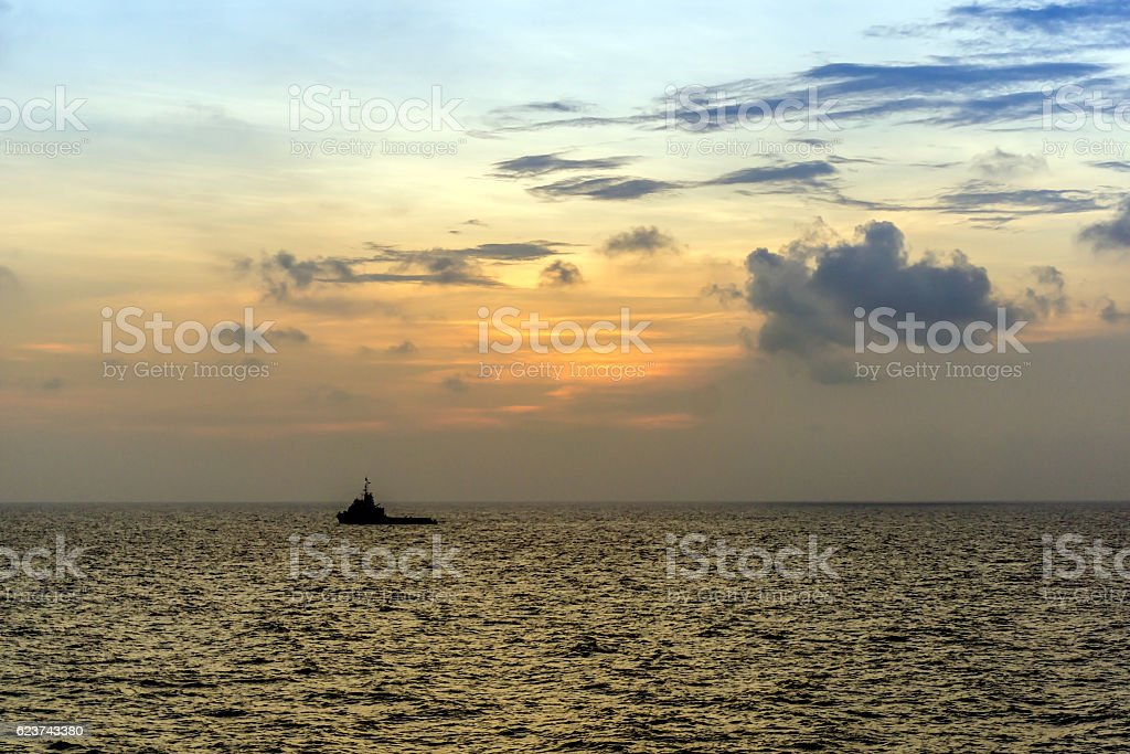 Tug Boat in Open Ocean stock photo