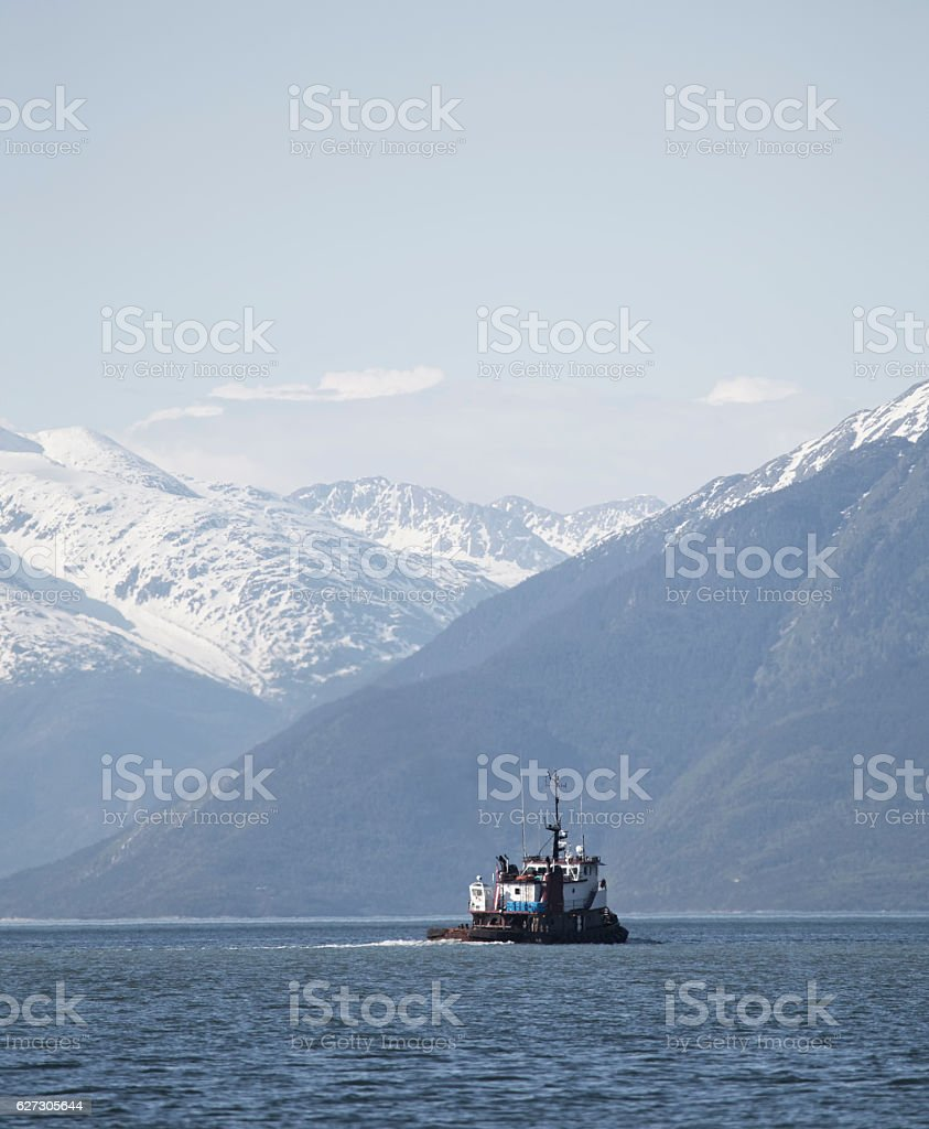 Tug Boat in the Lynn Canal stock photo