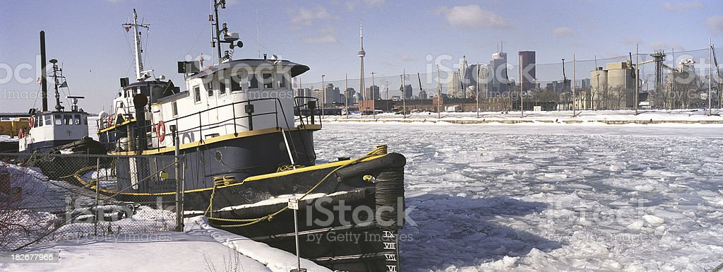 tug boat in winter royalty-free stock photo