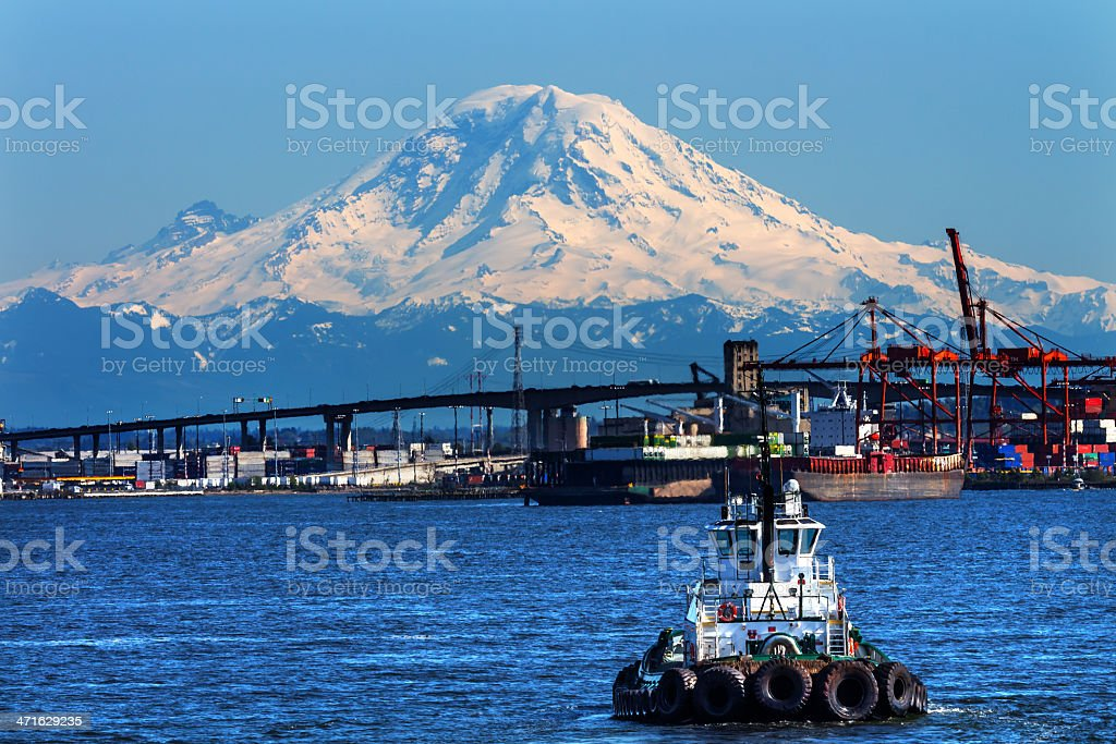 Tug Boat Seattle Port Red Cranes Ships Mount Rainier Washington royalty-free stock photo