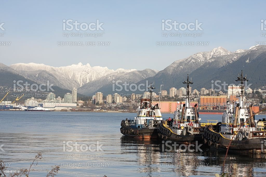 Tug Boats at Port Metro Vancouver in Burrard Inlet, Canada royalty-free stock photo