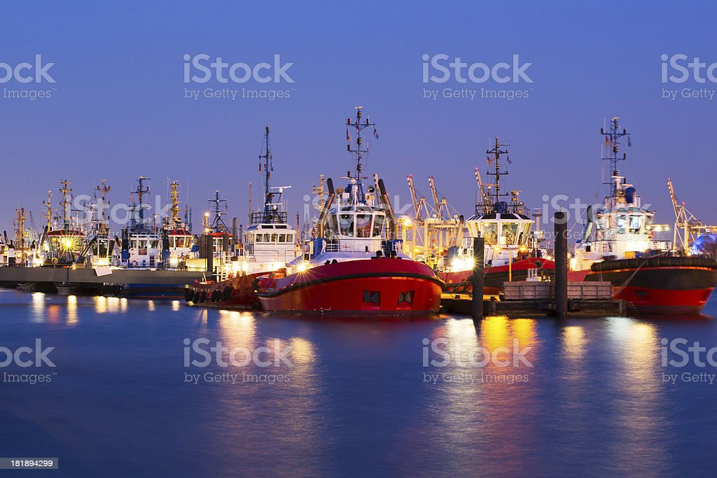 Tug boats in the Hamburg Harbour royalty-free stock photo