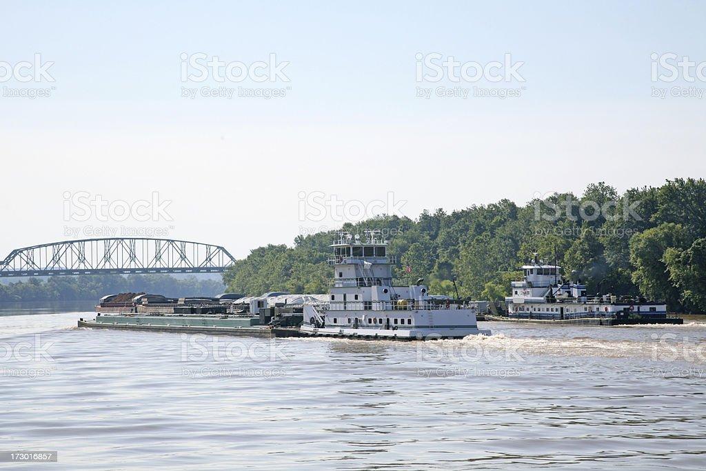 Tug Boats On The Ohio River royalty-free stock photo
