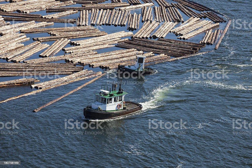 Tug Maneuvering Cut Logs royalty-free stock photo