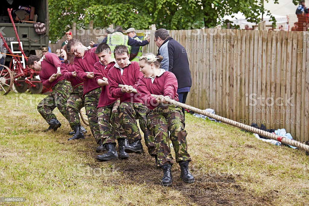 Tug o' war team at Mauchline Holy Fair stock photo