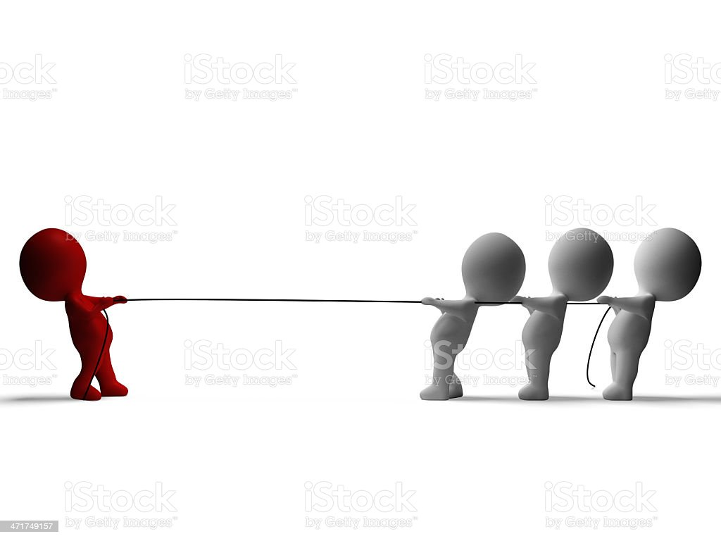 Tug Of War 3d Characters Shows Conflict And Adversity royalty-free stock photo