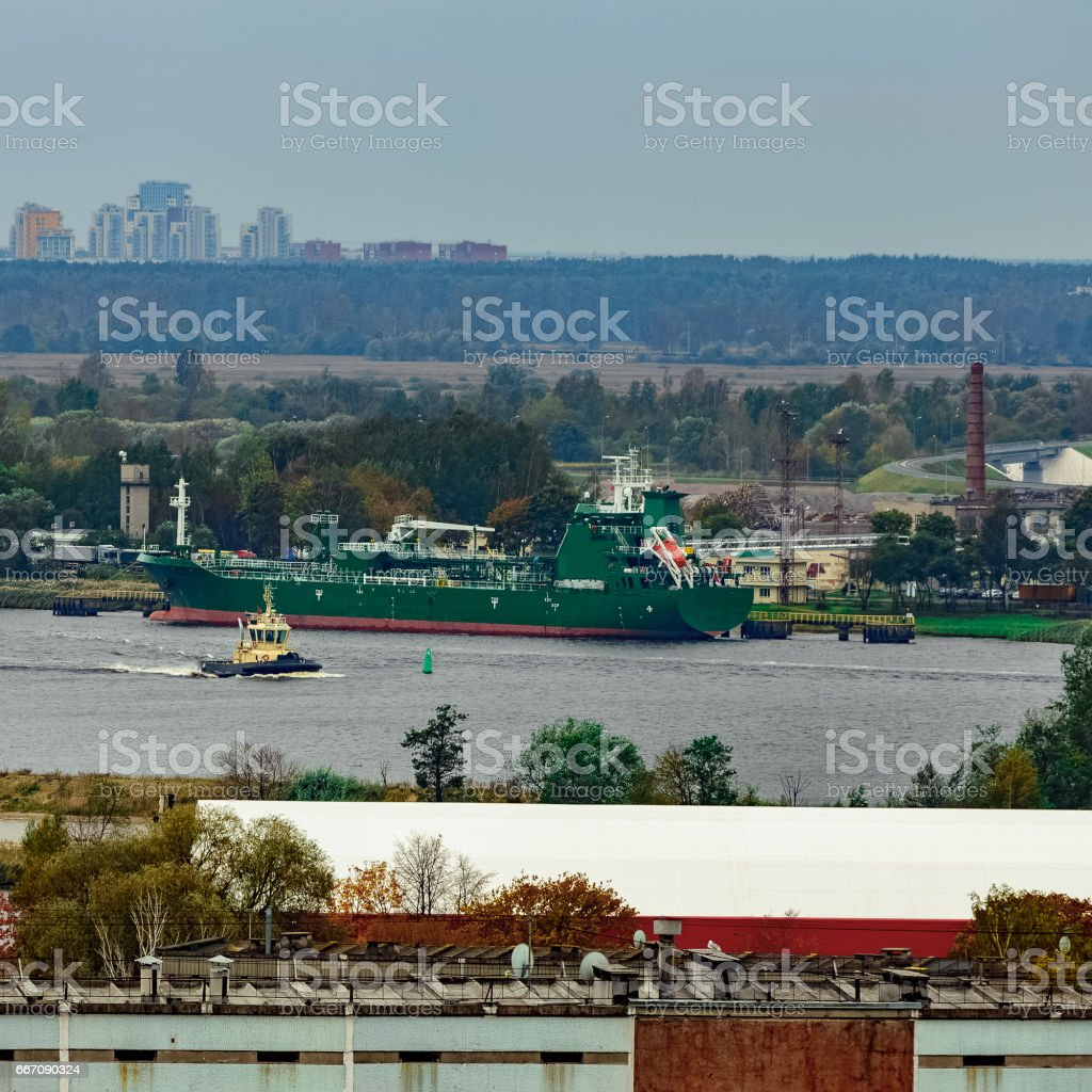 Tug ship moving stock photo