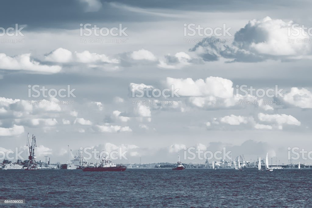 Tug ships and sailboats stock photo