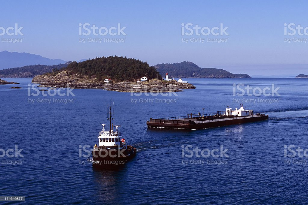 tug towing aerial stock photo