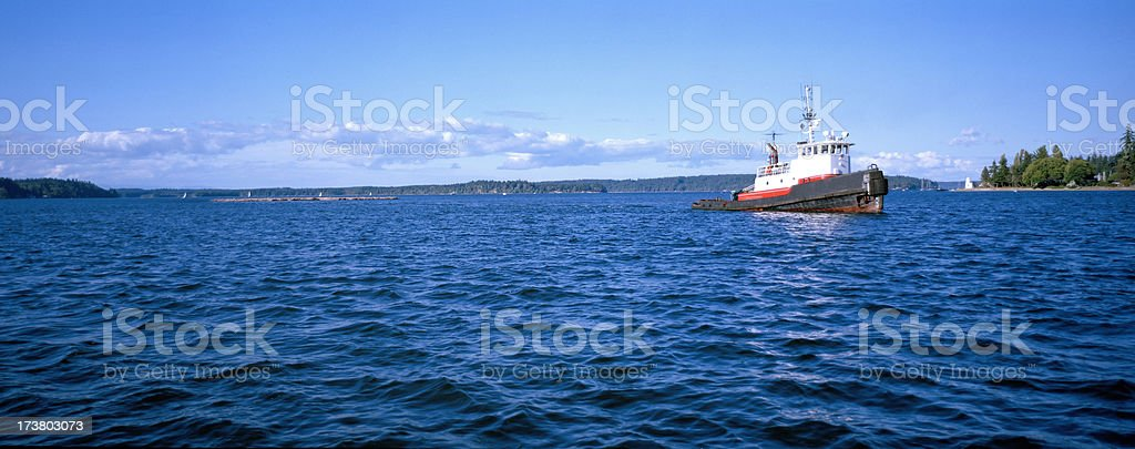Tug Towing Logs, Puget Sound, Washington, United States royalty-free stock photo