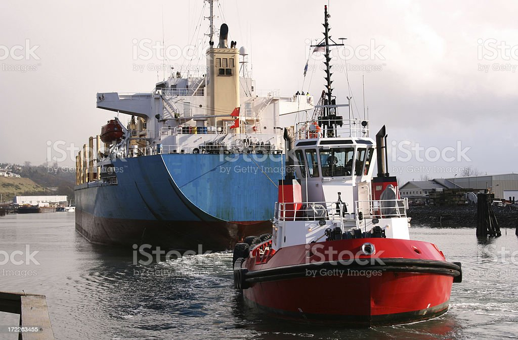 Tug with Container Ship royalty-free stock photo
