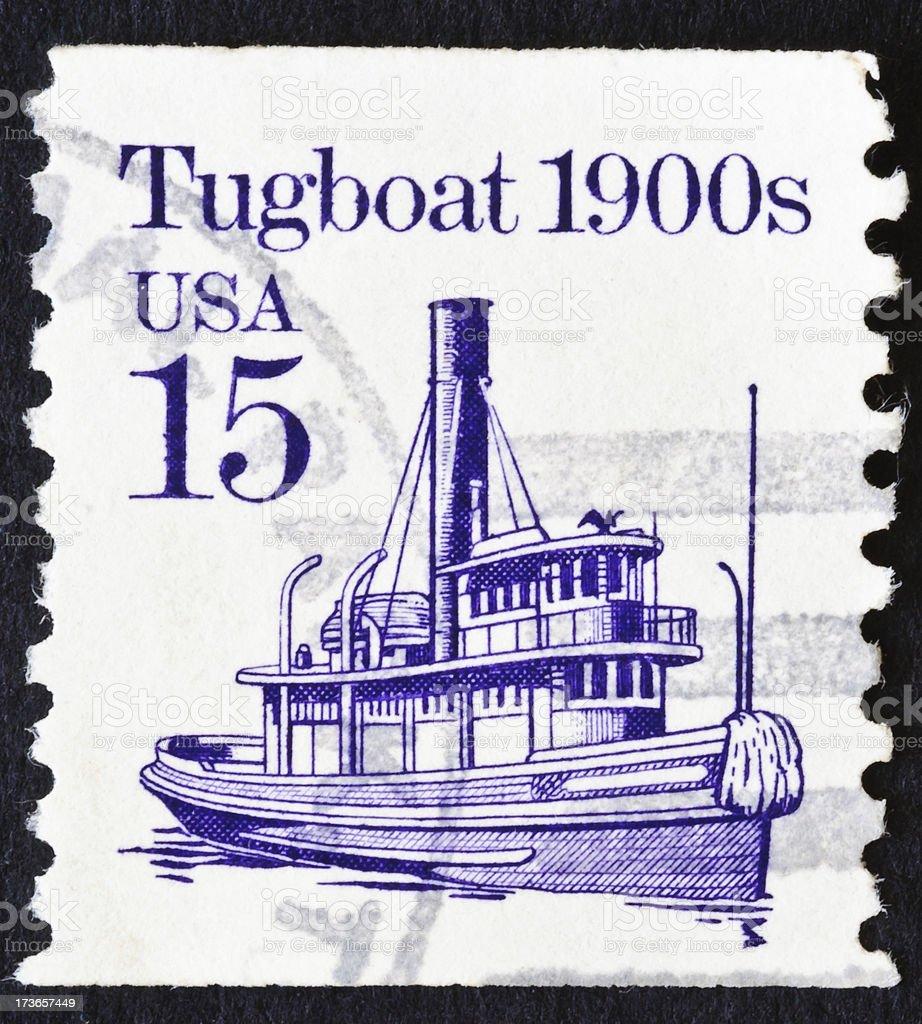 Tugboat 1900's Stamp stock photo