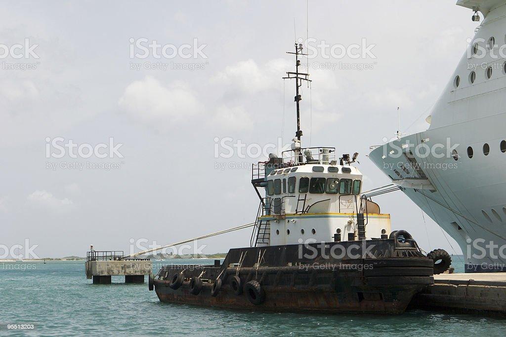Tugboat and Cruise Ship royalty-free stock photo