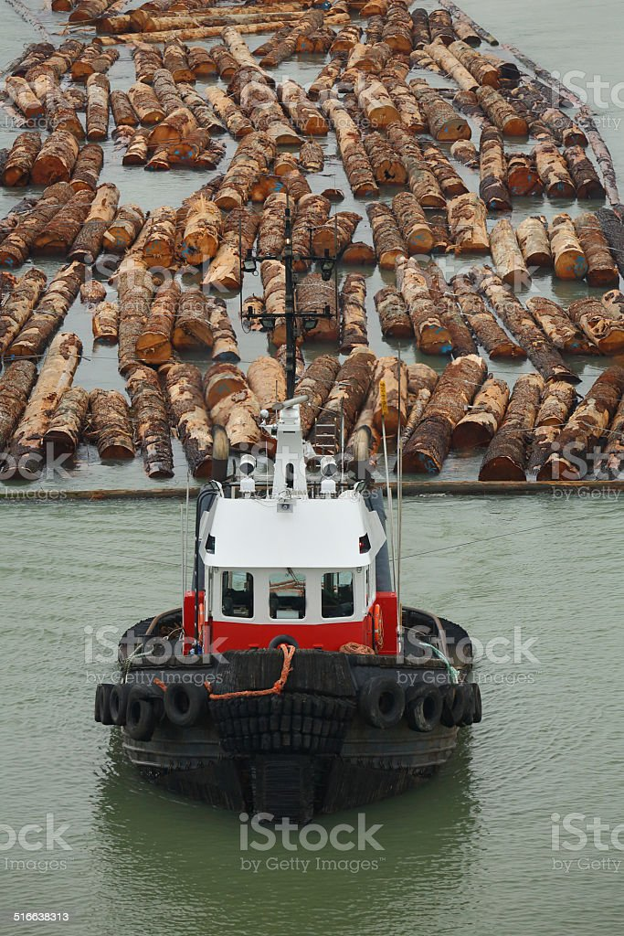 Tugboat and Log Boom stock photo