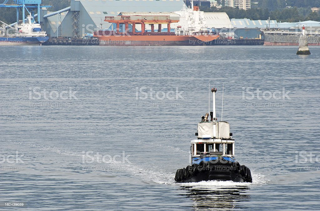 Tugboat and ships royalty-free stock photo