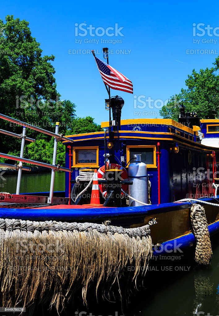 Tugboat at lock in Waterford NY stock photo