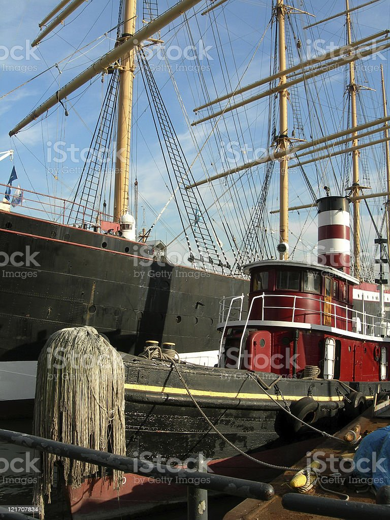 Tugboat docked at South Street Seaport royalty-free stock photo