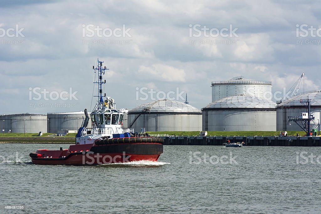 Tugboat entrance Rotterdam Harbor stock photo