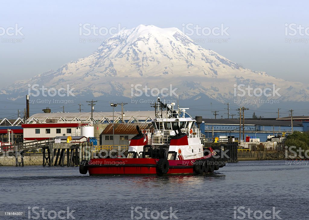 Tugboat Guide Vessel Waterfront Bay Thea Foss Waterway Rainier Tacoma royalty-free stock photo