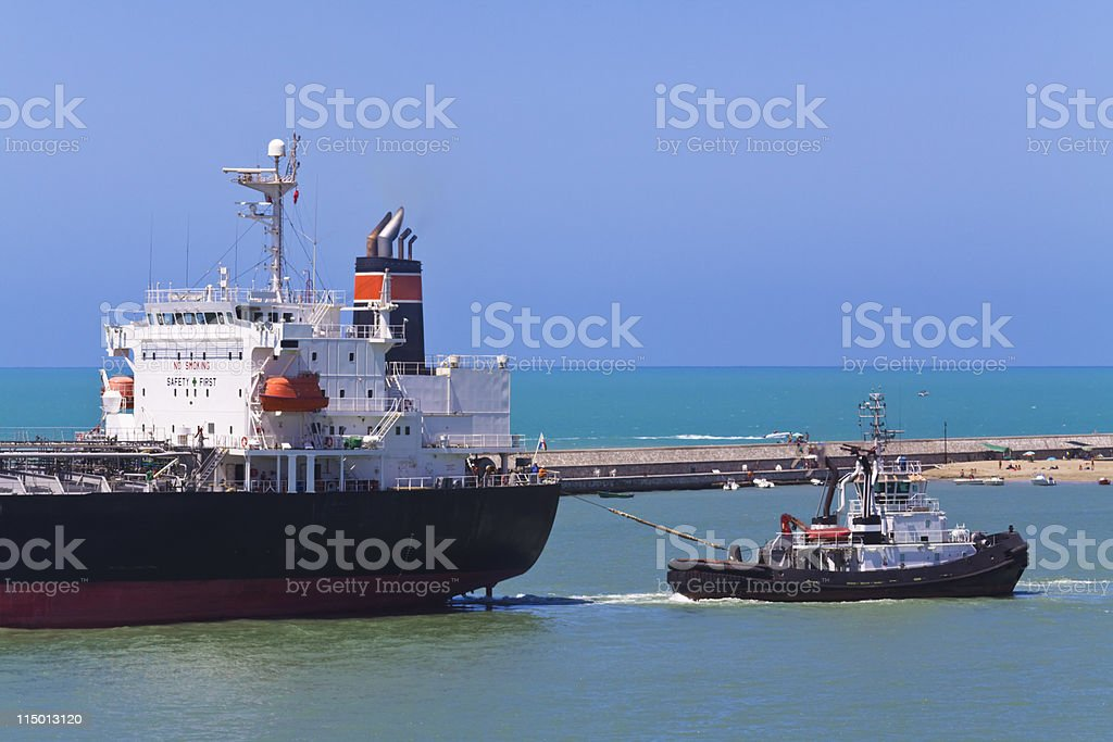 tugboat in action royalty-free stock photo
