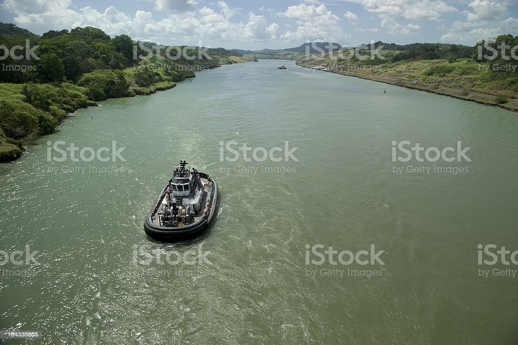 Tugboat in Panama Canal, Central America, Transportation stock photo