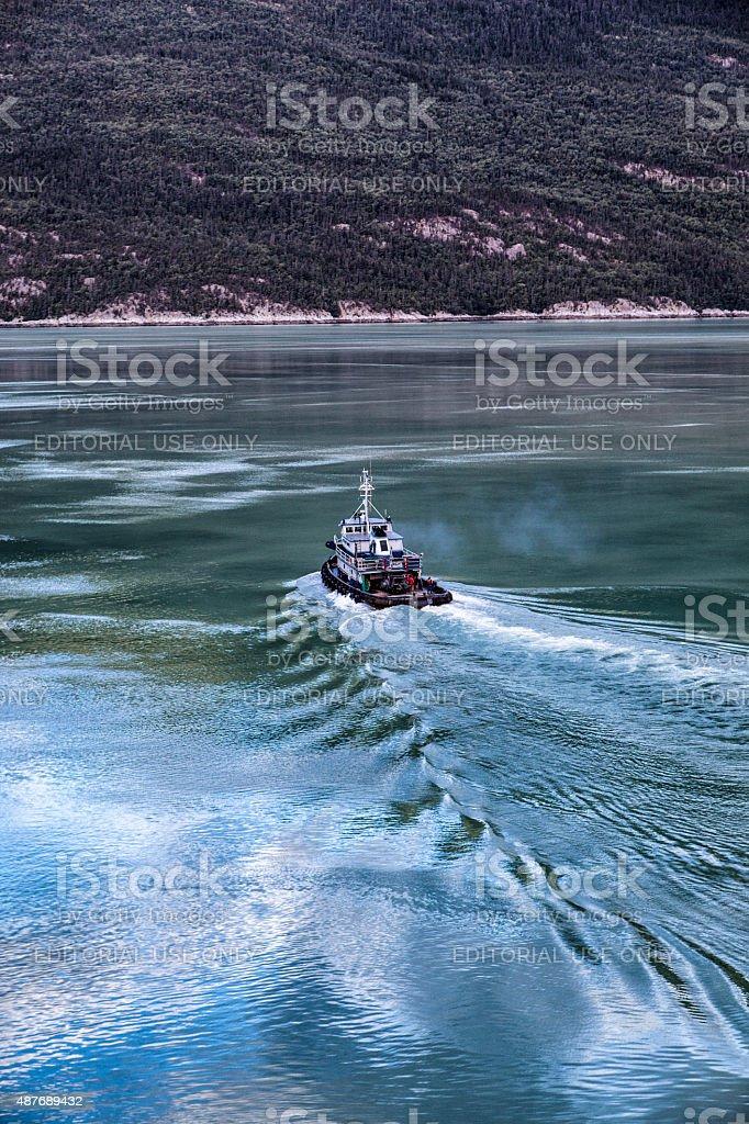 Tugboat in Skagway, Alaska stock photo