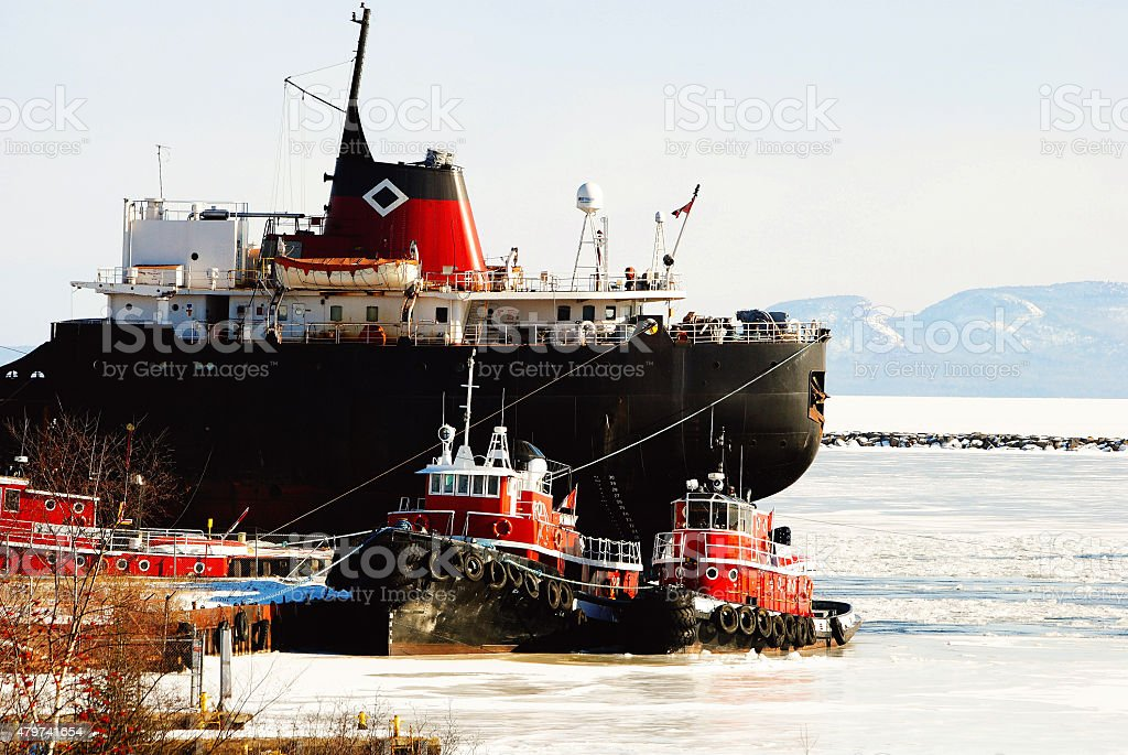 Tugboat in the Winter stock photo