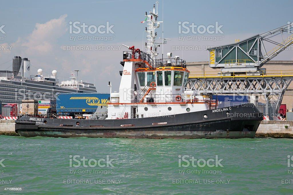 Tugboat moored in Venice harbor, Italy royalty-free stock photo