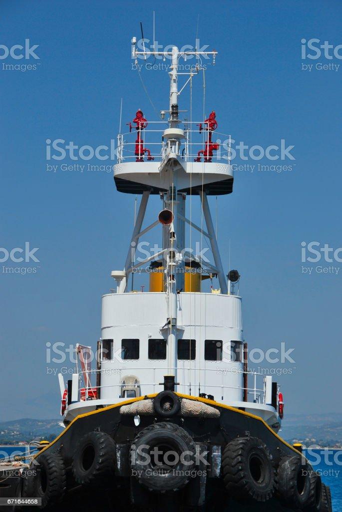 Tugboat moored stock photo