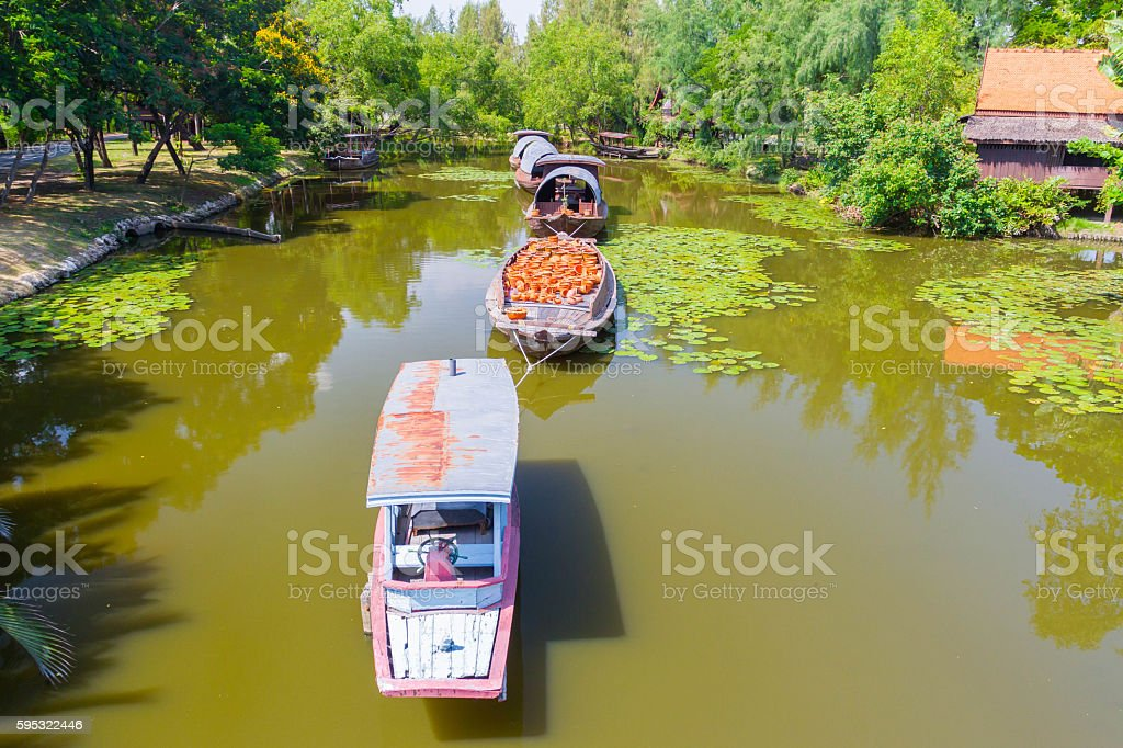 Tugboat on the canal stock photo