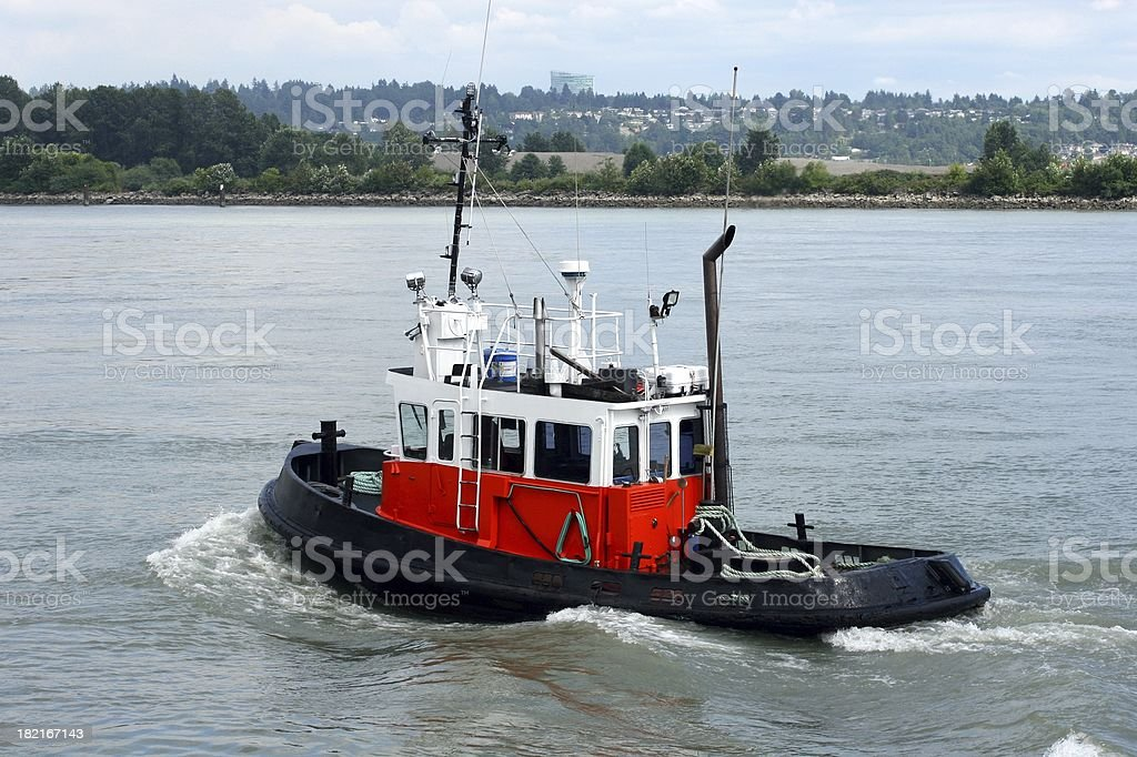 Tugboat On The Fraser River royalty-free stock photo