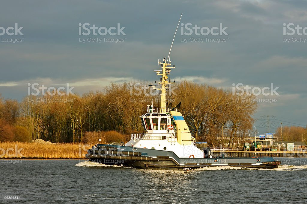 Tugboat on the Nieuwe Waterweg in Netherlands stock photo