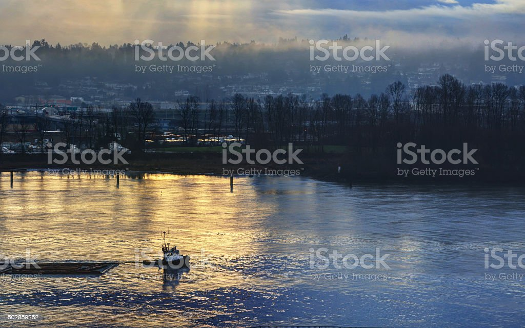 Tugboat pulling log boom in the morning light stock photo