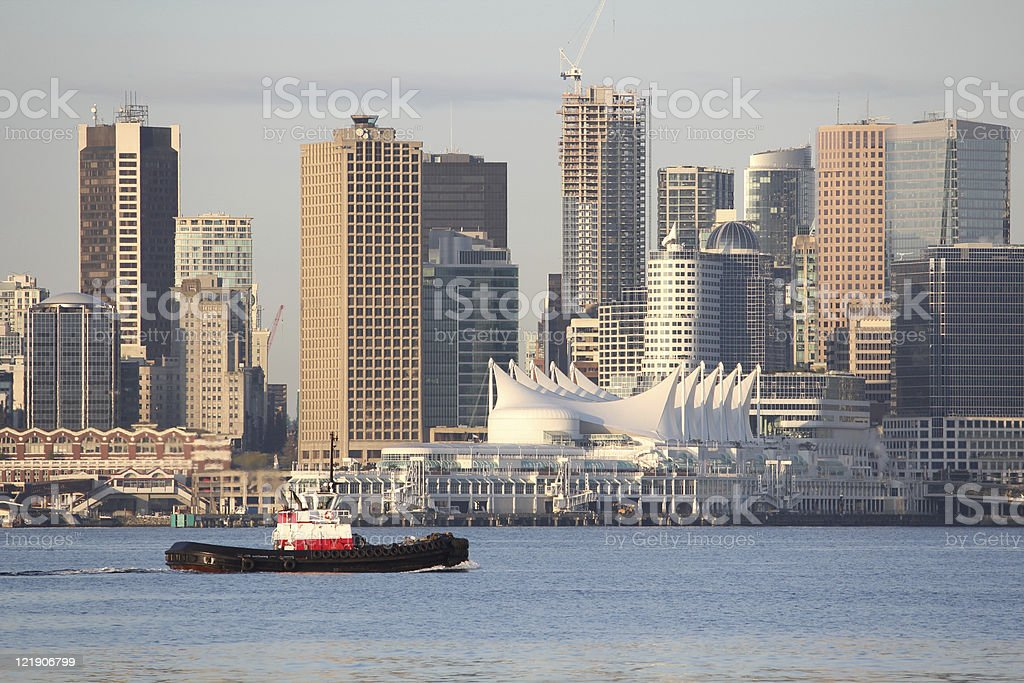 Tugboat, Vancouver Skyline horizontal stock photo