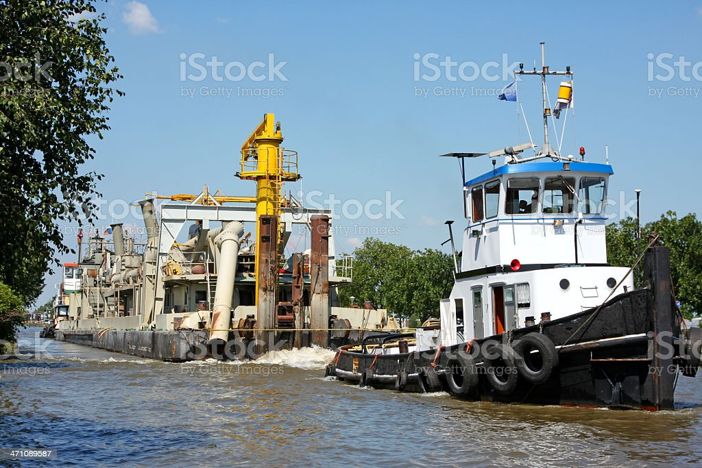Tugboat with dredger XL royalty-free stock photo