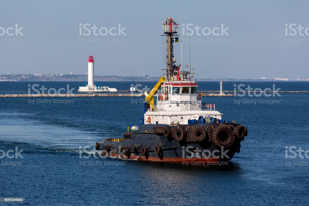 tugboat with fire trunk. stock photo