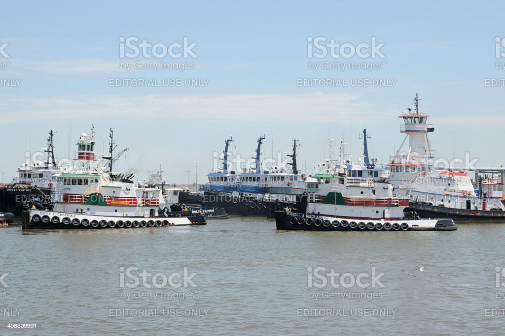 Tugboats in Harbor stock photo